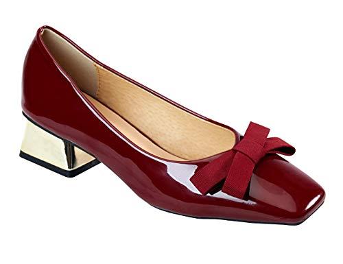 C.PARAVANO Ballerine Scarpe da Donna con A Blocco Tacco Medio-Basso Alto 3.5 CM in Pelle Verniciata(38,Rosso)