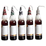YOUTIFAN 5Pcs Christmas Gnomes Wine Bottle Cover,Chirstmas Faceless Doll Ornaments,Handmade Gnomes Wine Bottle Toppers Santa Claus Bottle Bags