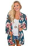 Yidarton Kimono de punto para mujer, para verano, playa, poncho, gasa, chal para verano, traje de baño para la playa A-azul. L