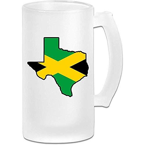 NHJYU Jarra de Cerveza Jamaica Flag Texas Map Frosted Glass Stein Beer Mug - Personalized Custom Pub Mug- Gift for Your Favorite Beer Drinker