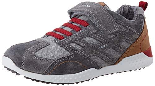 Geox Jungen J Snake.2 Boy A Sneaker, Grau (Grey/Dk Red C1102), 32 EU