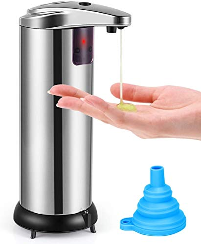 Soap Dispenser, Touchless Automatic Soap Dispenser, Waterproof Base Stainless Steel Infrared Sensor Type Adjustable Hands-Free Auto Hand Soap Dispenser