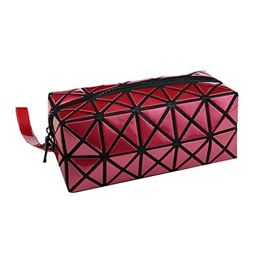 ISABELLE Trousse de Toilette Pliable Pochette de Maquillage Portatif Toiletbag en Cuir Multifonctionel Brillant Fashion Rouge