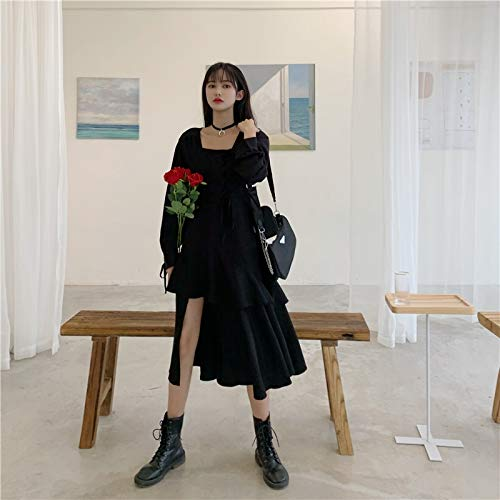 YUNCHENG Hot Girl Black Vestido Ropa de Mujer Aerierna Primavera Otoño 2021 Nuevo Diseño Oscuro Sense Little Black Vestido Falda Dividida