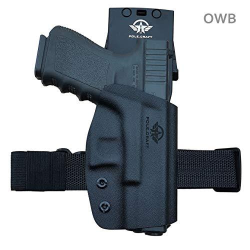 OWB Tactical KYDEX Pistolenholster Waffenholster Für: Glock 19 19x 23 25 32 Glock 17 22 31 Glock 26 27 33 CZ P10 Pistolenhalfter Pistole Waffentasche Pistol Case Holster Bund außen tragen (Black)