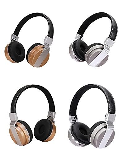 LALAHO Bluetooth 5.0 Tarjeta inalámbrica montada en la Cabeza Auriculares Deportivos Plegables con música de Regalo Plata