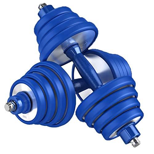 Mancuernas De Acero Inoxidable 304 Combinación De Traje De Par De Acero Puro De Peso Ajustable para Mujer Hombre Fitness Principiante En Casa Gama Alta (Color : Blue, Size : 15kg)