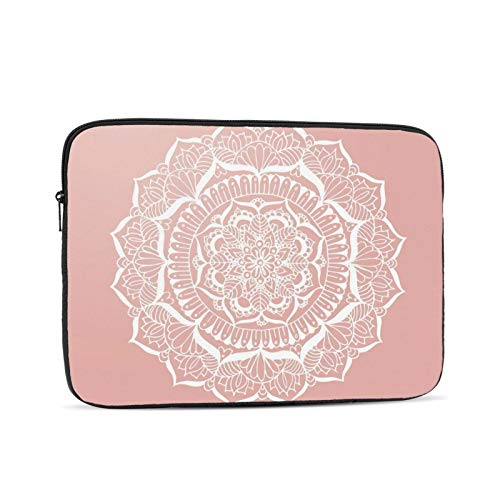 White Flower Mandala On Rose Gold 13 Inch Laptop Sleeve Bag Compatible with 13.3' Old MacBook Air (A1466 A1369) Notebook Computer Protective Case Cover