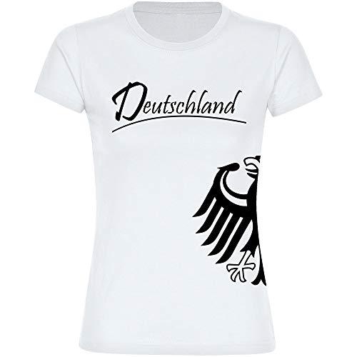 T-Shirt Deutschland Trikot Adler seitlich Damen weiß Gr. S - 2XL - Fanshirt Fanartikel Fanshop Trikot Fußball EM WM Germany,Größe:M,Farbe:weiß