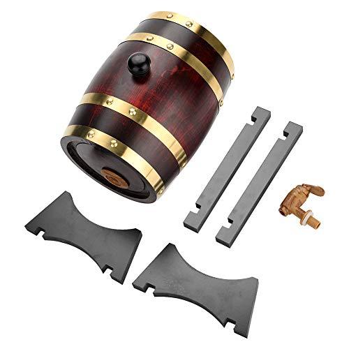 Barril de vino de madera de roble vintage para almacenamiento de ron de whisky de cerveza, barriles dispensadores de almacenamiento de vino exquisito 1.5 litros a 10 litros(1.5 Litre)