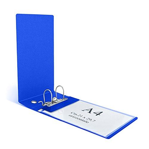 Clam Ordner für horizontale Hüllen und Einlageblätter Uni A4, Rückseite 8 cm, Hebelmechanik. blau