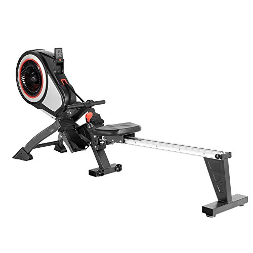 SportPlus Indoor Rower – Rowing Machine – Includes 5 kHz Heart Rate Strap Receiver in Rowing Computer – Max User Weight 150 Kg - Foldable