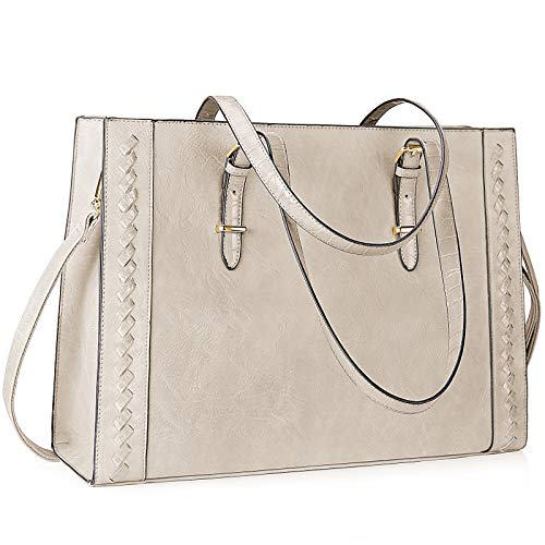 Lubardy Laptop Bags for Women 15.6 inch Large Shoulder Tote Bag Laptop Handbag for Work Business School College Travel Beige
