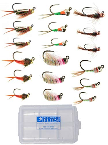 Jiggy Euro Nymph Fly Collection: 18 Flies + Fly Box
