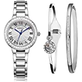 MAMONA Women's Watch Bracelet Gift Set Crystal Accented Stainless Steel L68008SRGTS