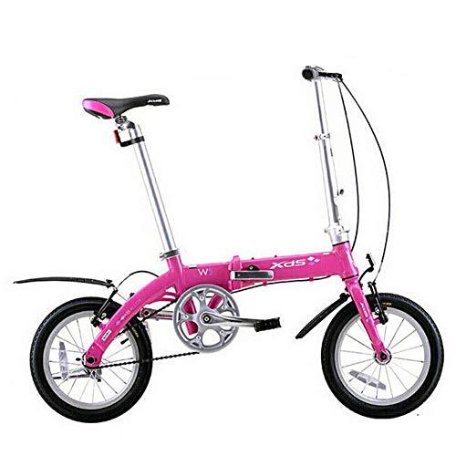 Xiaoyue Unisex Faltrad, 14-Zoll-Mini-Single-Speed Urban Commuter Fahrrad, faltbares Kompakt Fahrrad mit Front- und Heckkotflügel, Gelb lalay (Color : Pink)