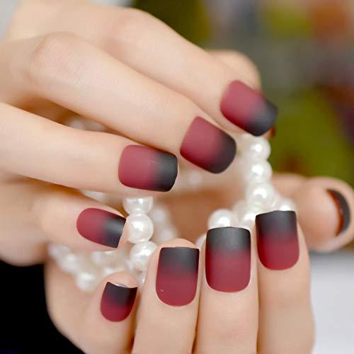 WOVP Faux Ongles Vin Pur Rouge Mat Faux Ongles Carmin Givré Faux Doigt Ongles Conseils Carré Top Ongles Art pour La Mariée Fête Usage Quotidien