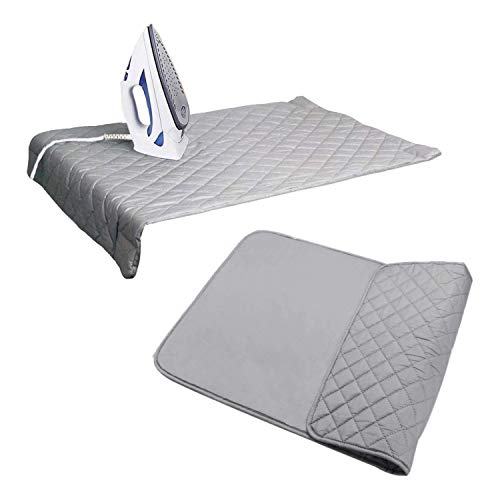 """Houseables Ironing Blanket, Magnetic Mat Laundry Pad, 18.25""""x32.5"""", Gray, Quilted, Washer Dryer Heat Resistant Pad, Iron Board Alternative Cover"""