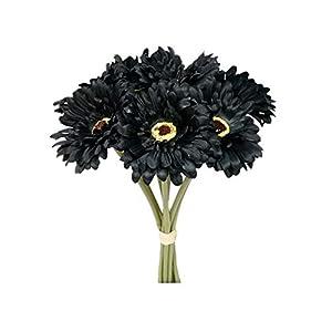 Silk Flower Arrangements Sweet Home Deco 13'' Silk Artificial Gerbera Daisy Flower Bunch (W/ 7stems, 7 Flower Heads) Home/Wedding