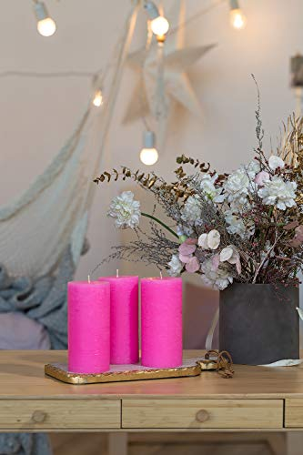 Set of 3 Pink Pillar Candles 3 x 6 inch Unscented Dripless for Weddings Restaurant Home Decoration Spa Church