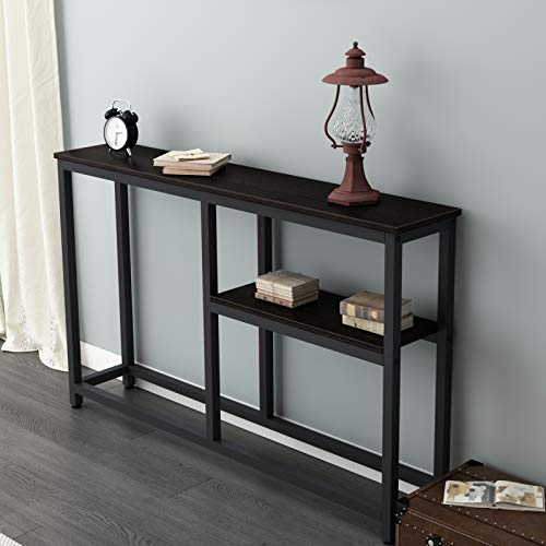 sogesfurniture Vintage Console Table Entryway Table with Shelf Storage, Stable Side End Table, for Hallway Entryway, Living Room, Bedroom, 120x23x75, Dunkel Brown BHEU-DX-122BR