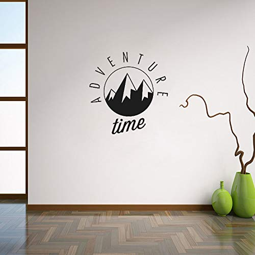 YuanMinglu Abenteuer Zeit wandaufkleber Berg Silhouette wandtattoos jugendzimmer inspirierend Wort wandkunst wandhauptdekoration schwarz 56x56 cm