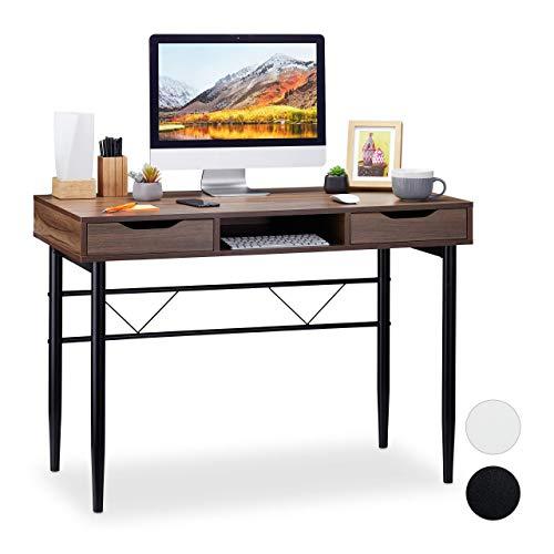 Relaxdays Escritorio con cajones, Moderno, Metal, Mueble de Oficina, Aglomerado, Hierro, marrón y Negro, 77 x 110 x 55 cm
