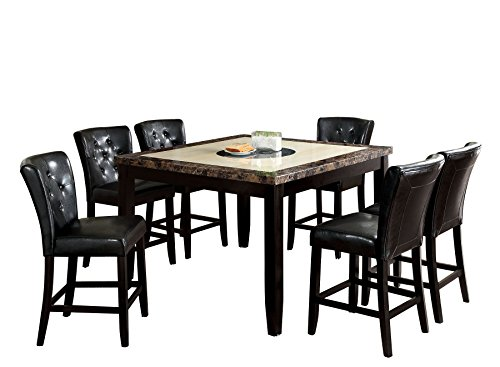 Ellsbury Black Counter Dining Table with Faux Marble Top