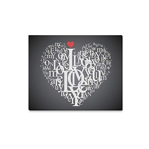 ENEVOTX Wall Art Painting Valentines Day Heart Shape from Letters Prints On Canvas The Picture Landscape Pictures Oil for Home Modern Decoration Print Decor for Living Room