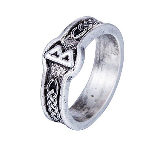 VASSAGO Anillo de vikinga Vassogo estilo punk retro, estilo antiguo, color negro, anillos para nudo celta