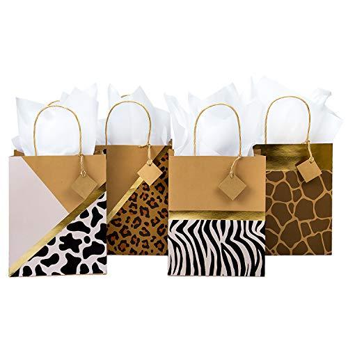 Loveinside Bolsas De Regalo Kraft De Tamaño Mediano - Bolsas De Regalo con Diseño Impreso De Leopardo/Cebra/Ciervo/Vaca con Papel De Seda para IR De Compras,Fiestas - Paquete De 4-20.4X10.2X25.4CM