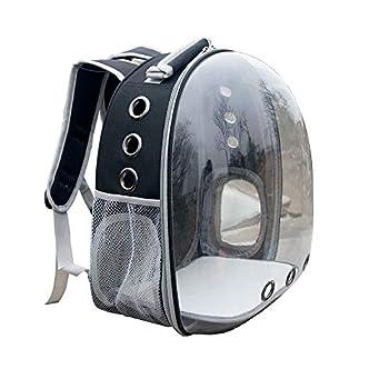 Sobotoo Sac à dos de voyage pour perroquet et oiseau, transparent, respirant, 360°, avec tasse pour voyage en plein air (Noir)