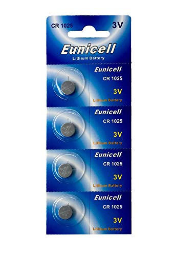 Eunicell 4 x CR1025 3V Lithium Knopfzelle (1 Blistercard a 4 Batterien) EINWEG Markenware