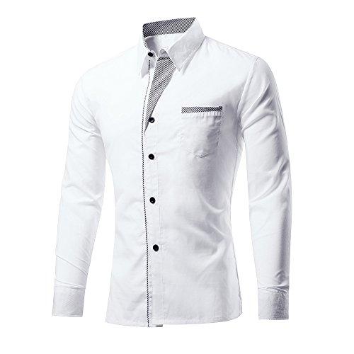 Rmine Herren Langarm Hemd Bügelleicht für Freizeit Business M-4XL (Weiß, L)