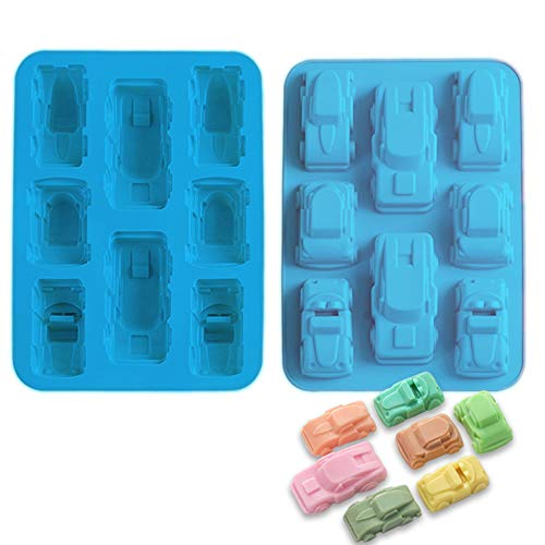FantasyDay 2 Pack Silicone Carton Car Mold Baking Molds Bakeware for Birthday Theme Party, Muffin Cups, Ice Cube, Soap, Wafer, Cake, Bread, Tart, Pie and More #1