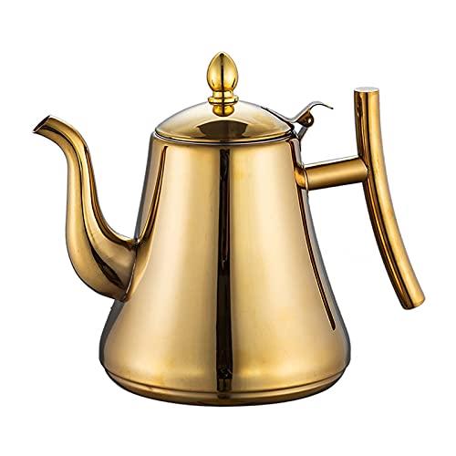Camping Café y teteras, Hervidor de té de Acero Inoxidable, Tetera de Flores Cafetera con colador, Tetera de la Oficina del Restaurante (Color : Dorado, tamaño : 2L)