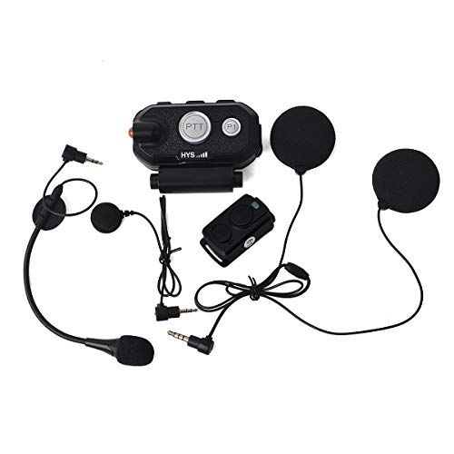 HYS Waterproof Handsfree Motorcycle Bluetooth Motorbike Helmet Headset Noise Cancelling Stereo Music Earpiece with Wireless Finger PTT Work for iPhone/Android/Bluetooth Devices for Driving Skiing