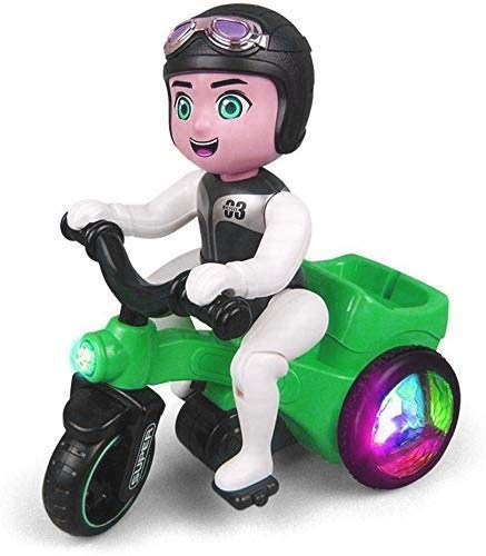 Galaxy Hi-Tech® 360 Degree Rotating, Head Swing & Spot Stunt Tricycle Motorcycle, Bump & Go Toy with Flashing Lights Music Sound Bicycle for Hours of Entertainment for Kids Both Boys and Girls