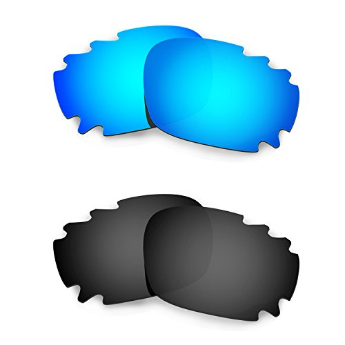 HKUCO Mens Replacement Lenses for Oakley Racing Jacket Vented Sunglasses Blue/Black Polarized