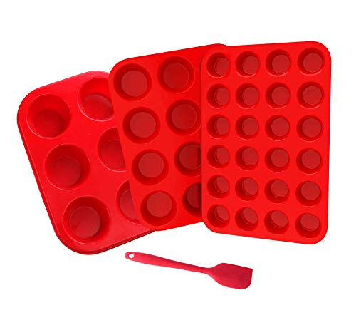 Mlying Silikon Muffinform Mini Muffins Backform, 6&12&24er Muffinpfanne Backblech Muffinblech Set mit 1 freiem Spatel, BPA Frei für Cupcakes,Brownies, Kuchen, Pudding