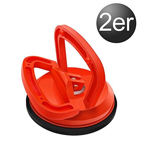 YAOBLUESEA 2 Stück Saugheber Saugnapfhalter Saugnäpfen Gummisauger Glasheber Vakuumsauger 118 mm (Einzel-Orange)