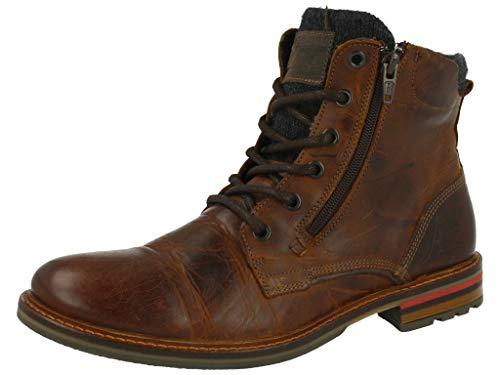 BULLBOXER Herren Stiefel, Männer Schnürstiefel,Boots,Chukka Boots,Schnürung, Boots Chukka schnürung Freizeit,braun,43 EU / 9 UK