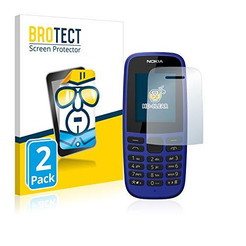 BROTECT Schutzfolie kompatibel mit Nokia 105 DS 2019 (2 Stück) klare Bildschirmschutz-Folie
