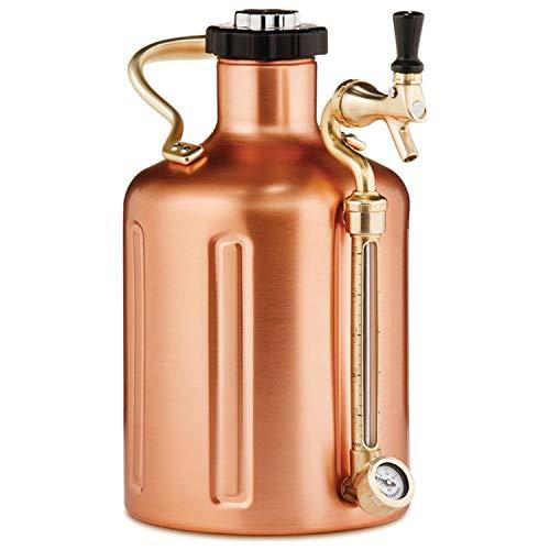 GrowlerWerks uKeg™ 128 - Revestimiento de cobre - 3,8 l - Fácil de llenar y dispensar cerveza en cualquier lugar - Dispensador portátil sin electricidad - Mantiene fresco al vacío