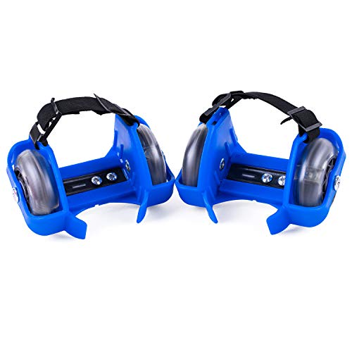 Seahouse Street Rollers Pop Lighted Flashing Heel Wheels Clip on Skates Rollers for Kids Over 6 Year Old (Blue)