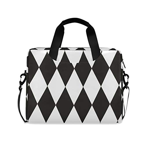 Black and White Diamonds 16 inch Laptop Shoulder Bag Travel Laptop Briefcase Carrying Messenger Bags