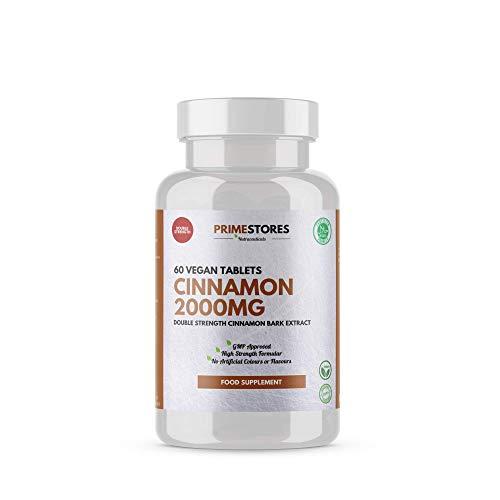 Organic Cinnamon Extract 2000 mg Pills - 60 Vegan Tablets - High Strength Powder Vegetarian Tablet Halal Supplements by Primestores