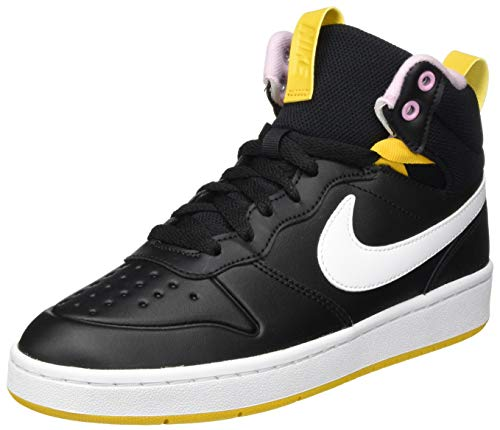 Nike Court Borough Mid 2 Boot (GS) Sneaker, Black/White-Dark Sulfur-Light Arctic Pink, 38.5 EU