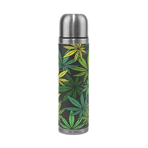 Emoya Bouteille isotherme en acier inoxydable avec feuille de cannabis Vert 0,5 l