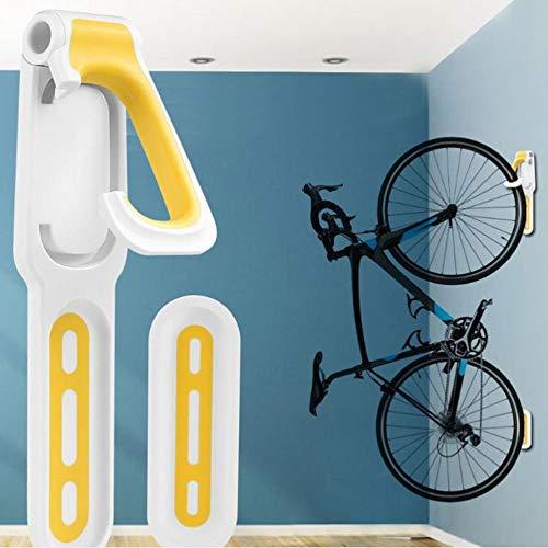 DOLA Soporte Bicicletas Pared, Ganchos Colgantes Verticales, con 1 Bicis Soporte de Bici Universal,Amarillo